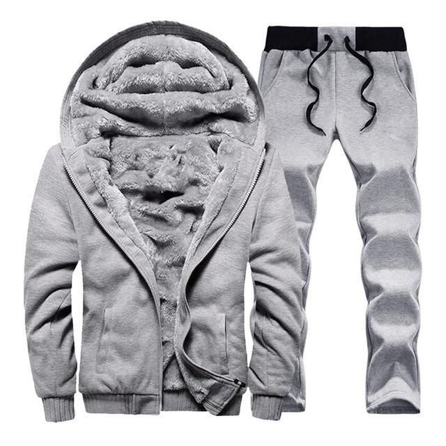 Mens Tracksuit Set Camouflage Sweatshirt Jogger Sweatpants Warm Sports Suit