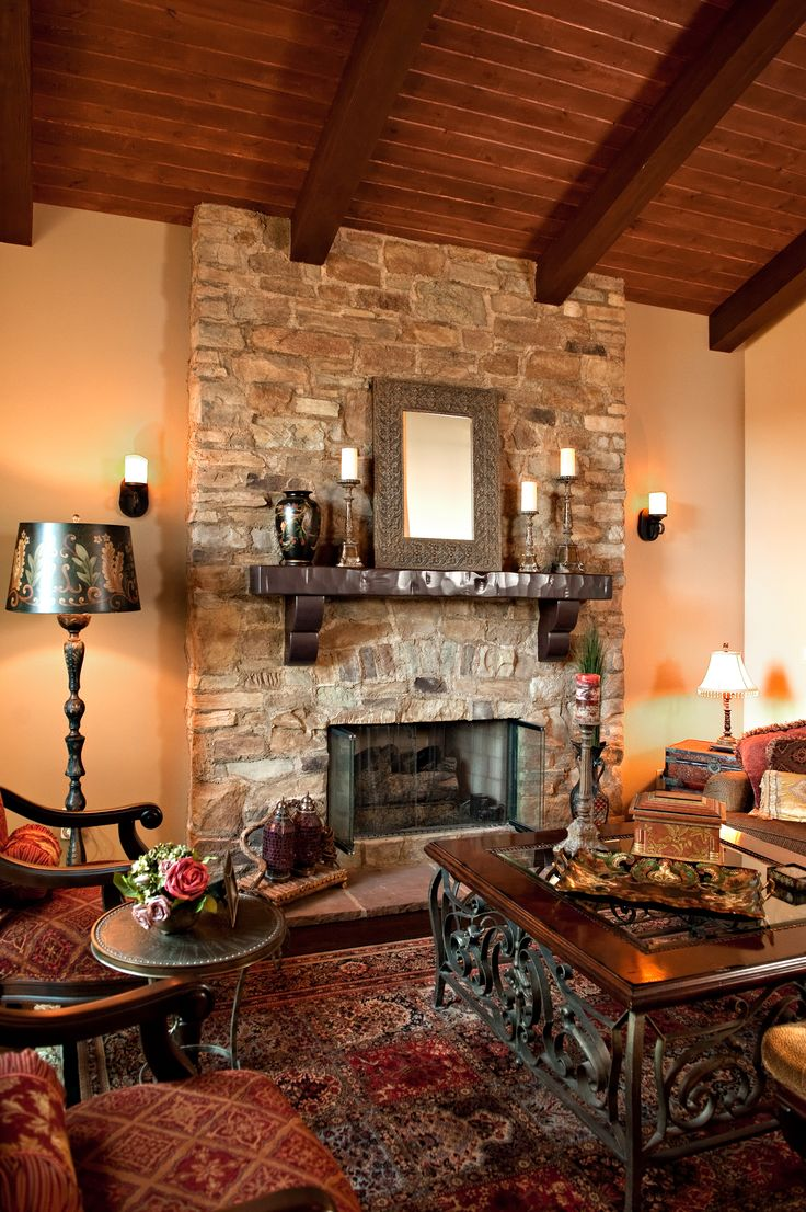 37 best images about stone fireplaces on pinterest - Living room with fireplace ...
