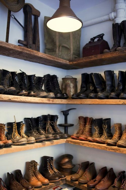 Men need closet space too. Boots shoes bags accessories