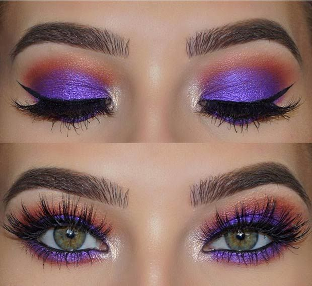 Purple and Orange Eye Makeup Look for Green Eyes