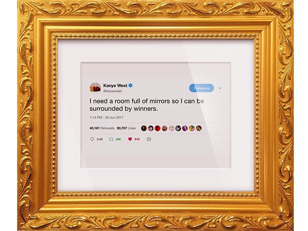 Display Kanye West S Epic Tweets Rants On Your Wall In An Ornate Gold Frame In 2020 Kanye Kanye West Frame