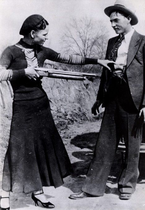 """Bonnie Parker & Clyde Barrow on Sowers Road in Irving, Texas taken by W.D. Jones"""