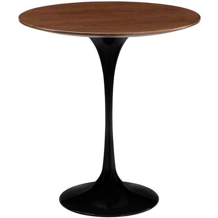 Lippa 20 Inch Side Table Black Walnut Wood Round Eero