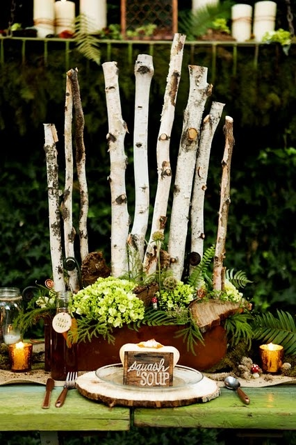 The incredible birch pole centerpiece for our Woodland Wonder Photo Shoot. By: branchesfloraldesign.com.