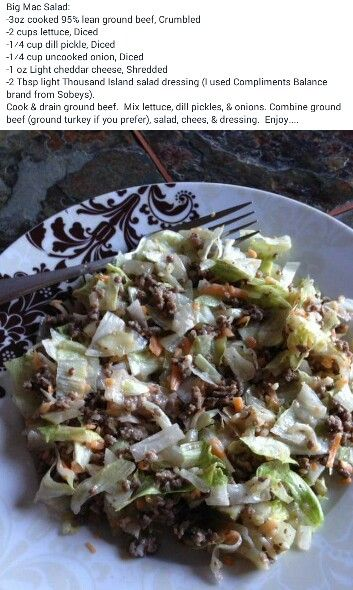 """Big Mac Salad - a friends said """"Made this for supper tonight. I had all the ingredients ready and we just made our own salads. Daughter had two helpings minus the pickles...that means it was a hit in our house!"""""""