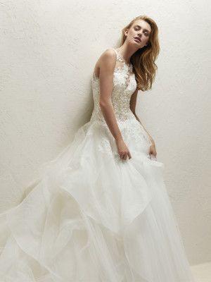 Princess wedding dress illusion bodice