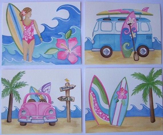 4 Surfs up Aloha  Malibu Pink Surf Island Kids girls Art Prints 8x10each via Etsy
