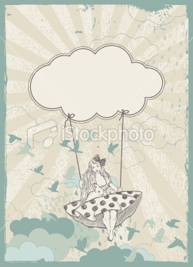 swing in the clouds Royalty Free Stock Vector Art Illustration