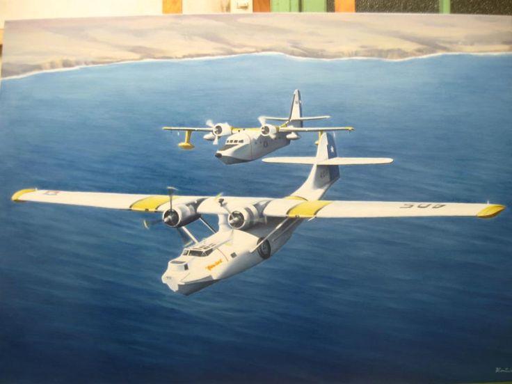 oleo sobre tela, primer vuelo a Isla de Pascua Chile
