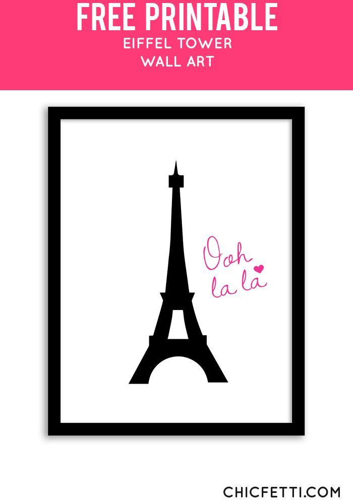 Free Printable Eiffel Tower Art from @chicfetti - easy wall art diy