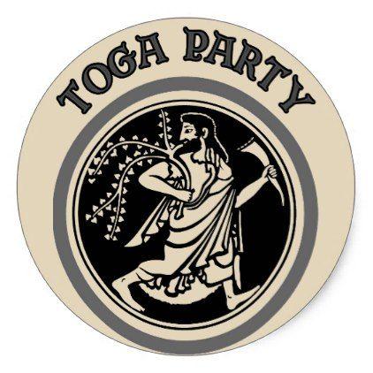 Toga Party Roman Man Classic Round Sticker  $5.55  by figstreetstudio  - cyo customize personalize diy idea