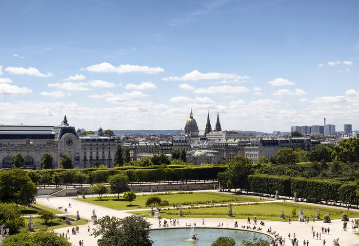 Aerial view of Jardin des Tuileries in Paris