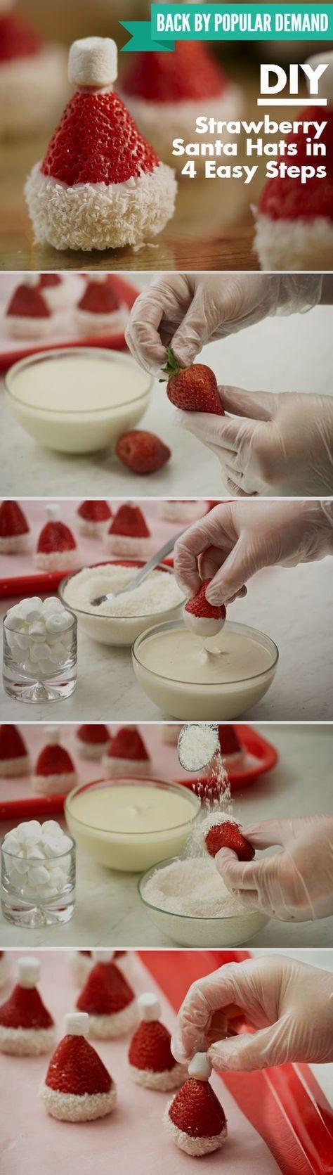 Tutoriels en image super simple pour un buffet de Noël réussi. Des mignons petits chapeaux du Père Noël.