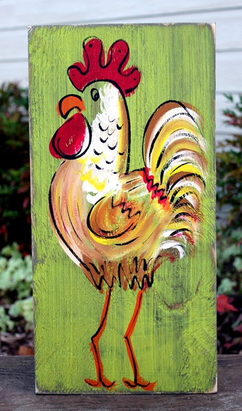 """Rustic Rooster Painting in Kiwi for BourbonandBoots.com """"Knock, knock...."""" @Julie Forrest Martin"""