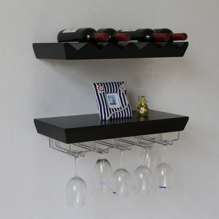 Wall Mounted Wine Rack Bottle And Glass Holder Shelf For