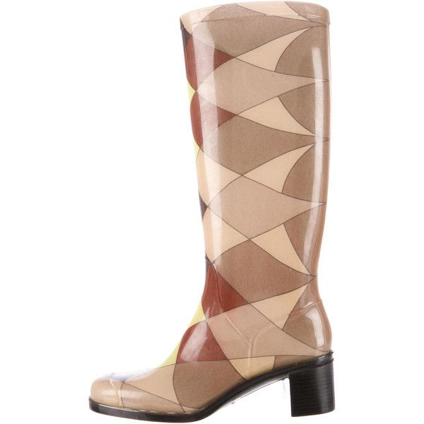 Pre-owned Emilio Pucci Rain Boots ($125) ❤ liked on Polyvore featuring shoes, boots, neutrals, rubber boots, wellies shoes, rubber rain boots, wellies rubber boots and wellington rubber boots