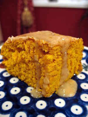 2-ingredient pumpkin cake with apple cider glaze.