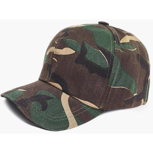 Boohoo Ebony Dark Camo Baseball Cap ($10) ❤ liked on Polyvore featuring accessories, hats, green, baseball caps, green fedora hat, ball cap, camo baseball hats and green baseball hat