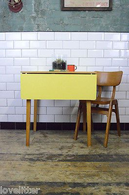 Vintage Mid Century Yellow Drop Leaf Formica Table