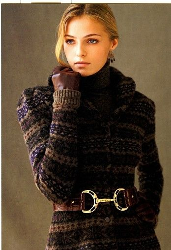 "Valentina Zelyaeva ~ Ralph Lauren ...I took a small pony bit and a nice leather belt to the shoe cobbler. He made this same ""look"" for me to give my daughter for Christmas. Gloria"