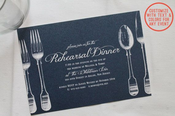 Printable rehearsal dinner invitation - Vintage theme - DIY customizable colors and text