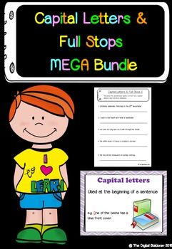 Capital Letters & Full Stops MEGA BUNDLE - Literacy posters, presentation, worksheetsIn this bundle you will get...Capital letters & full stops worksheet 15+ page bundle (worth 2)Capital letters posters (worth 2) Capital letters PowerPoint presentation containing posters with 'create your own sentence' tasks (worth 2) You are getting 6 worth of items for the price of 3.50.This is a ZIP file containing 2 PDF files and 1 PowerPoint file.