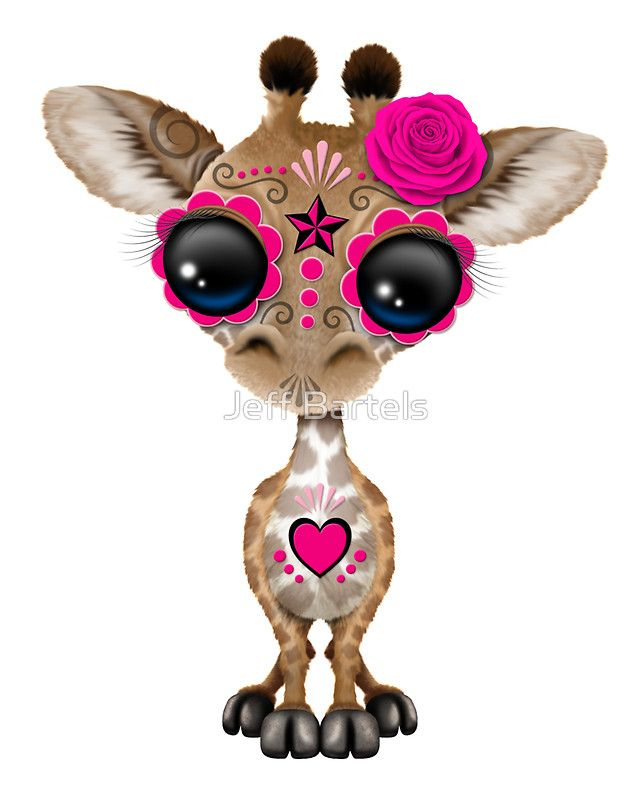 «Pink Day of the Dead Sugar Skull Baby Giraffe» de Jeff Bartels