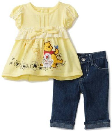 Amazon Com Disney Baby Girls Infant Winnie 2 Piece Denim