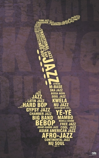 Replace Jazz with Sax or Saxy and then shape of Sax with names of section leaders, and each grade in different size fonts