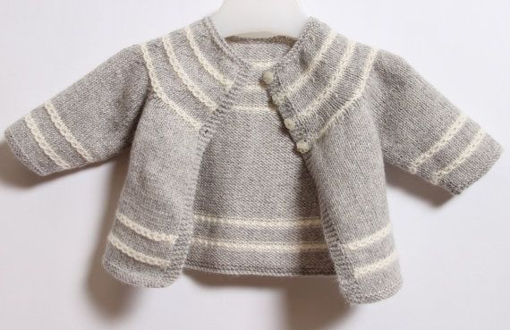 Baby Cardigan / Knitting Pattern Instructions in English  PDF Instant Download / Sizes Newborn / 3 / 6 / 12 months