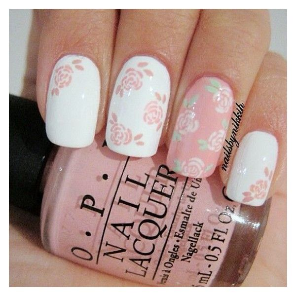 "THE NAIL ART STORY on Instagram: ""Cutest Pink floral nail art!! I... ❤ liked on Polyvore featuring beauty products, nail care, nail treatments and nails"