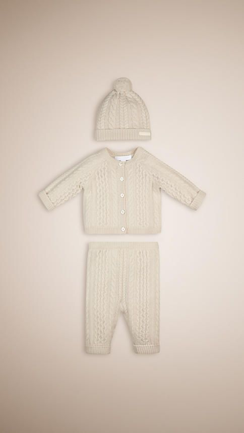 Natural white Wool Cashmere Three-Piece Baby Gift Set - Image 1