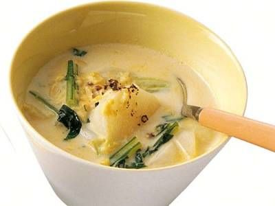 [かぶとかぶの葉のコーンミルクスープ] 料理レシピ|みんなのきょうの料理