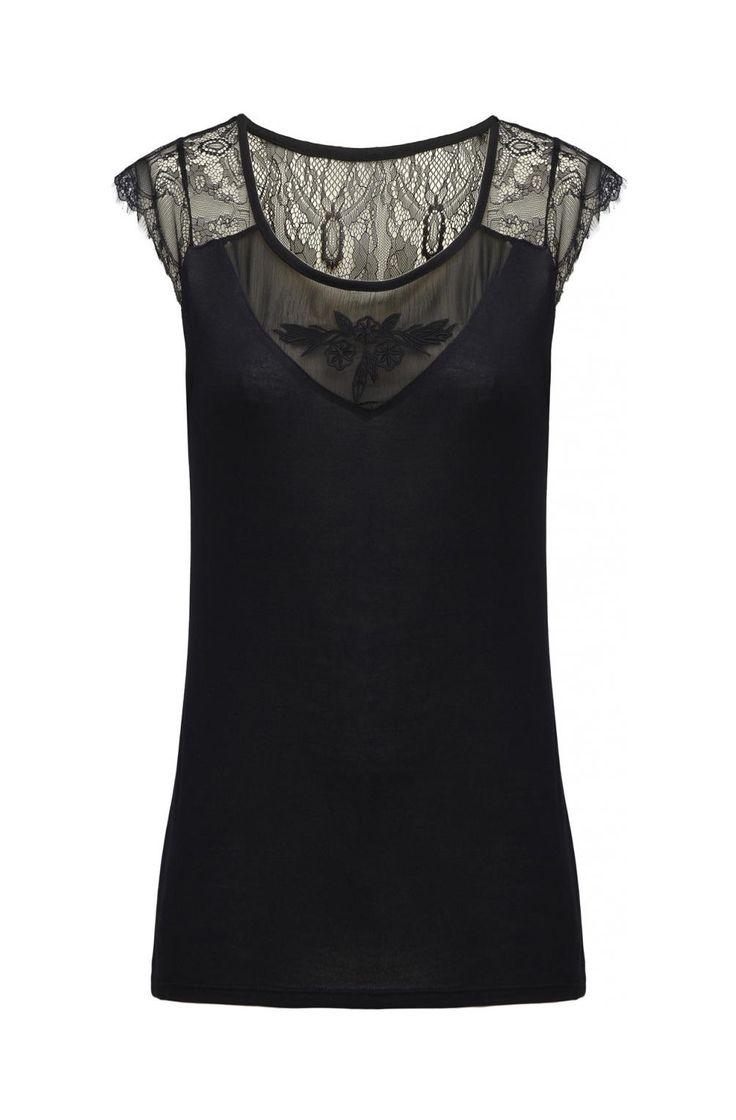 Top dos dentelle noir - tee-shirts femme - naf naf