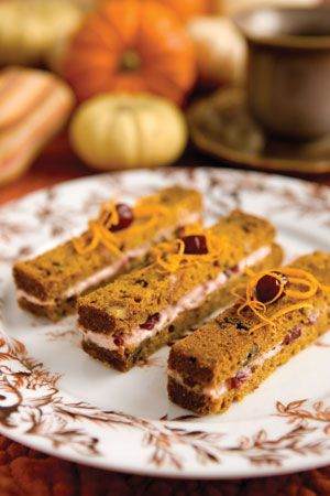 Pumpkin Bread and Cranberry Tea Sandwiches This sounds delicious