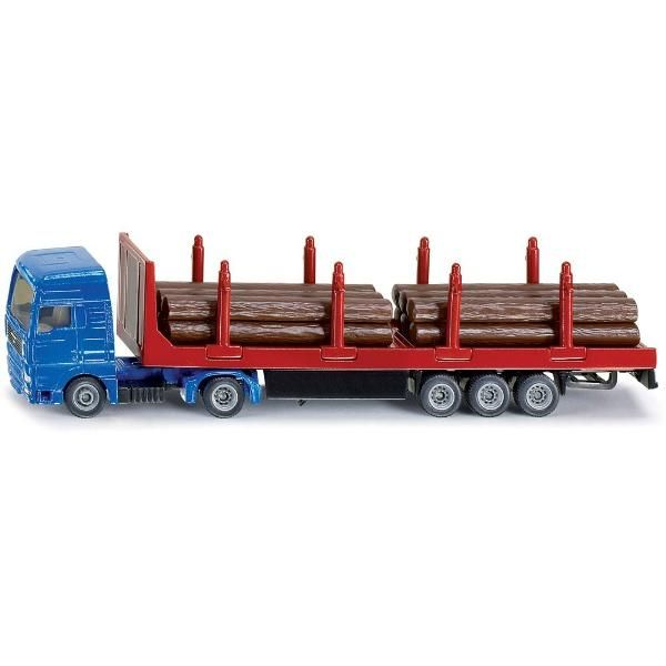 Jual beli MAN LOG TRANSPORTER TRUCK Diecast SIKU di Lapak Rijal - rijal6683. Menjual Diecast - SIKU forestry harvesters, forwarders and tractors with forestry trailers soon finish work in the children's playroom, but the timber still needs to be transported to the sawmill! That's easy for the powerful MAN truck and trailer with forestry trailer! With front metal guard and side guards, the supplied load of plastic tree trunks can be safely transported.  With trailer, plastic logs, and ...