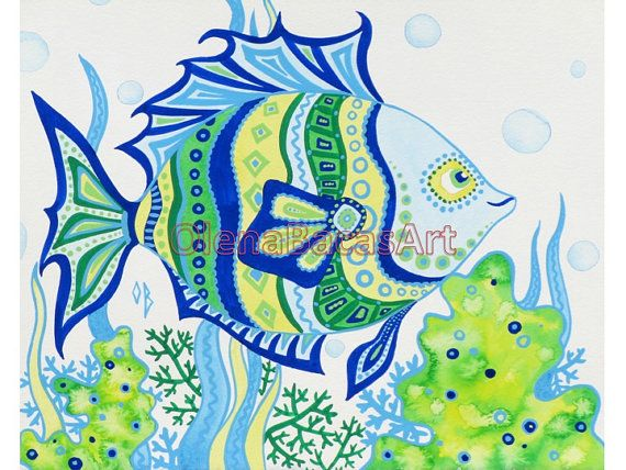 Green Blue Fish ORIGINAL Nautical Painting Ocean Illustration Sea Creatures Mixed Media Ocean Kids Baby Nursery Room Boy. $40.00, via Etsy.