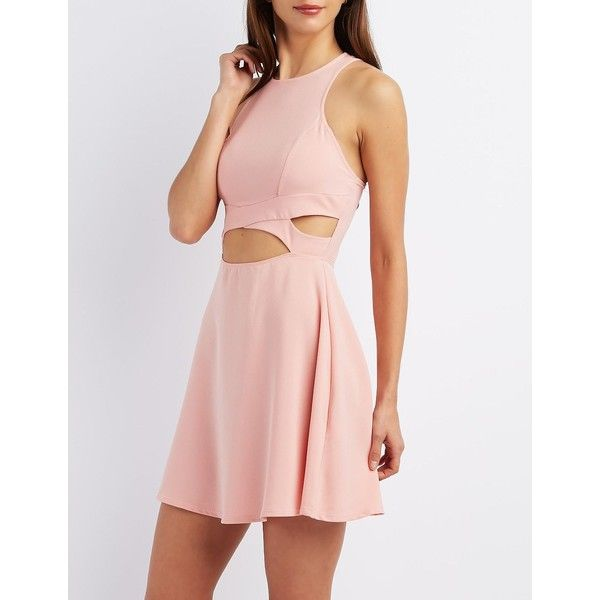 Charlotte Russe Crisscross Cut-Out Skater Dress (2140 RSD) ❤ liked on Polyvore featuring dresses, robes, blush, sexy pink dress, sexy dresses, pink a line dress, sexy cut out dresses and zipper dress