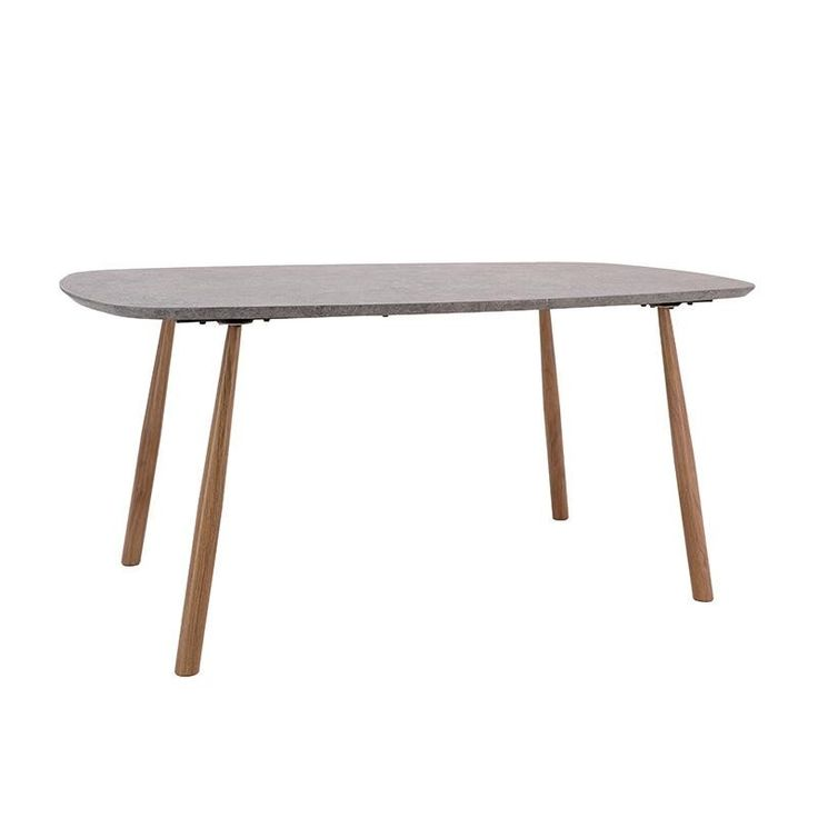 WOODEN TABLE IN GREY COLOR W/METAL LEGS 160X90X76 - Dinner Tables - FURNITURE
