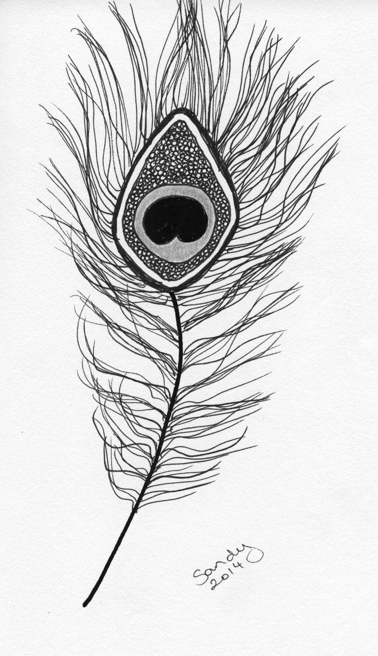 Single Peacock Feather Zentangle design by Sandy Rosenvinge Lundbye.