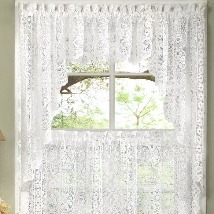 Schmucker Old World Style Floral Heavy Lace Kitchen Swag Pair Curtain Sweet Home Collection Kitchen Curtains Kitchen Window Curtains