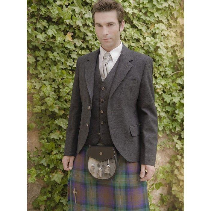 The Kinloch Anderson Day Kilt Jacket in Dark Grey Tweed