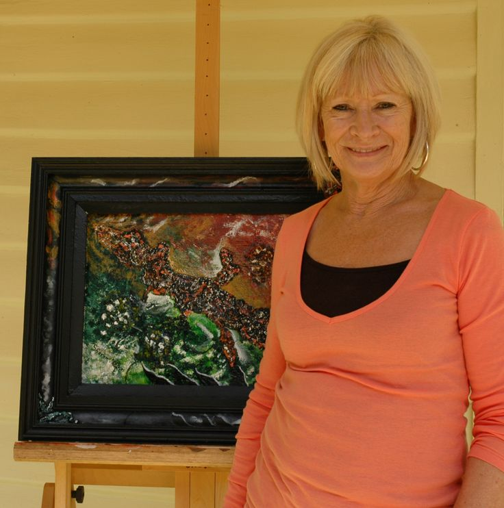 SHARON VALITUTTO AKA SHARON NELSON WITH HER ABSTRACT ART