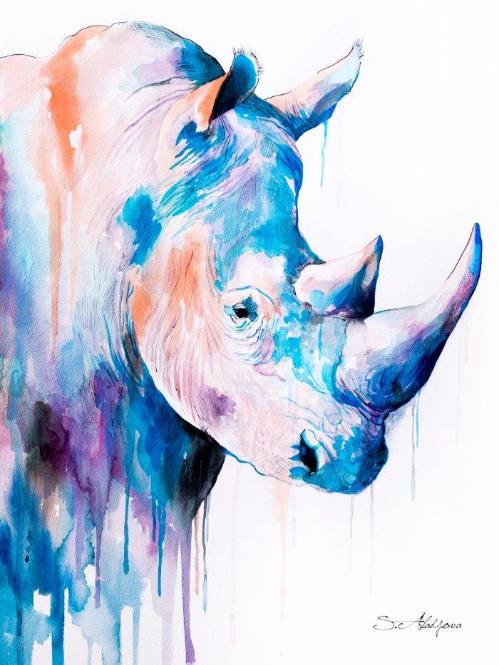 Blue Rhino Art Print by Slaveika Aladjova