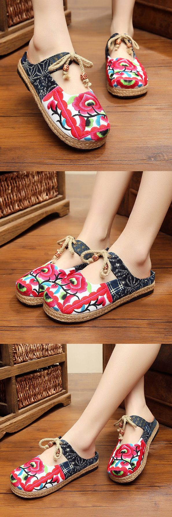 US$18.00 Red Flower Backless Butterfly Knot Knitting Flat Retro Shoes