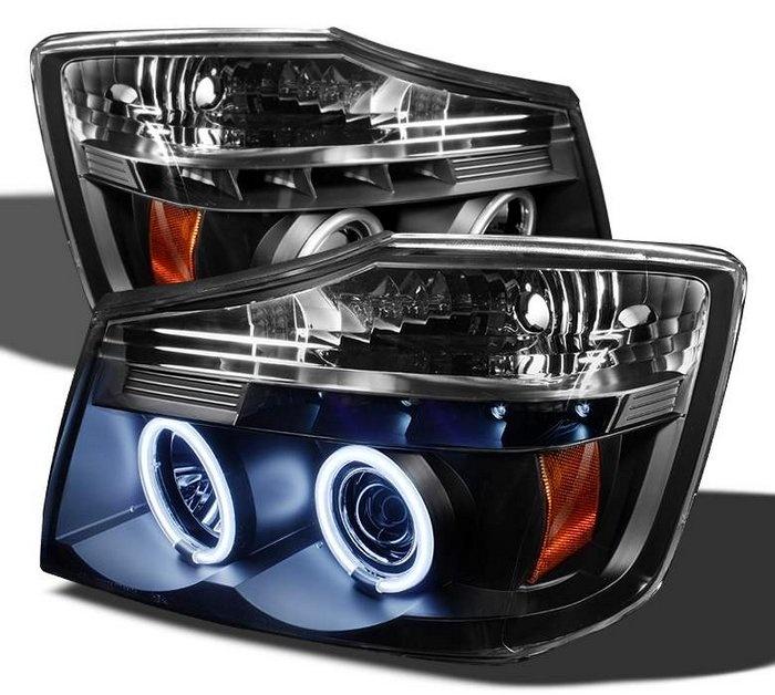 Spyder Auto | Nissan Titan 04-12 / 04-07 Nissan Armada CCFL LED ( Replaceable LEDs ) Projector Headlights - Black