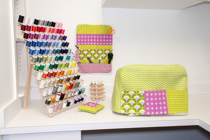 Brighten your sewing room with coordinating organizer and machine cover.