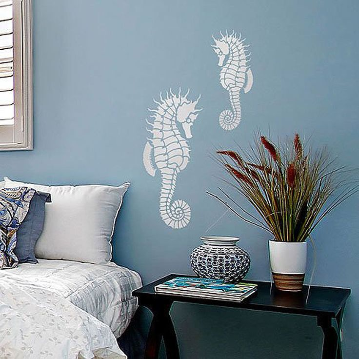 Decorative Wall Stencil Sea Horse Art
