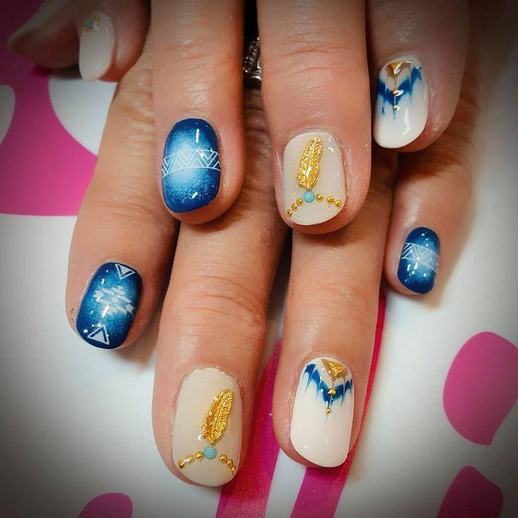 #nails #nailart #naildesign #gelnails #denim #ネイル #ネイルアート #ネイルデザイン #ジェルネイル #デニムネイル #ピーコックネイル #フェザーパーツ #川崎ネイルサロン #fortunenail #ドクターネイル爪革命