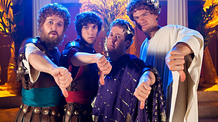Thumbs down - four of the awesome people on horrible histories in a song.